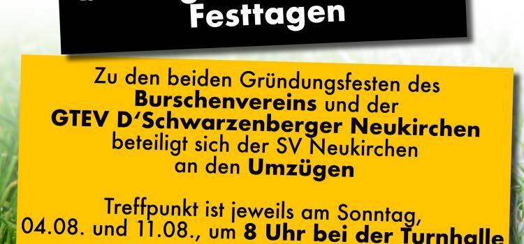 Der SV Neukirchen beteiligt sich an beiden Festtagen